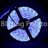 LumenWave 5M 5050 IP65 Waterproof Flexible 300 LED Strip Lights -White PCB- Blue