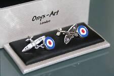 Cufflinks - Spitfire Aeroplane + Roundel  * New * Gift