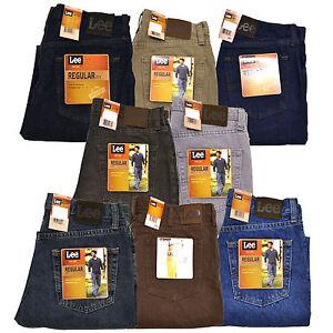 Lee Regular Fit Mens Jeans Denim Zip Fly 5 Pockets Straight Leg Blue All Sizes