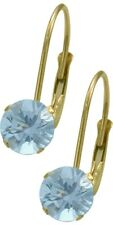 March 14K YG 1.10tcw. 5mm Aquamarine Leverback Gem Earrings