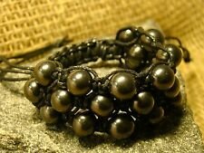 "Bracelet Shungite ""Shambala"" with beads in 3 rows of Karelia."