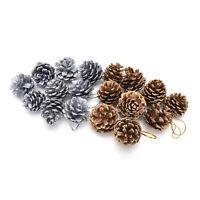 9pcs Christmas Pine Cones Baubles Santa Claus Xmas Tree Party Decor Ornament FO