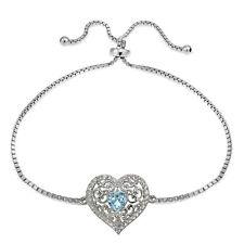 Sterling Silver Blue and White Topaz Filigree Heart Adjustable Bracelet