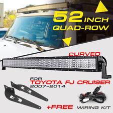 "Curved 52"" 3600W Quad-Row CREE LED Light Bar Mount Bracket For Toyota FJ Cruiser"