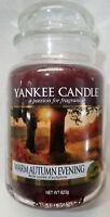 Yankee Candle WARM AUTUMN EVENING Large Jar 22 Oz Brown Housewarmer New Wax UK