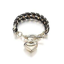 Couture Style Heart Charm With Black Leather Bracelet