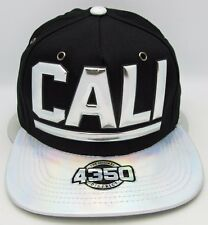CALI Snapback Cap Hat California Republic Black Silver NWT