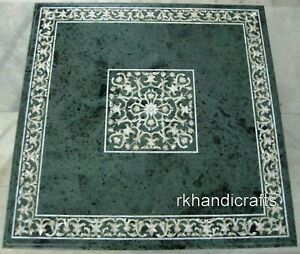 48 Inches Green Marble Dining Table Top with Marquetry Art Restaurant table top