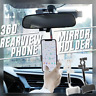Universal Car Rearview Mirror Mount Stand Holder Cradle 360° For All Phones GPS~
