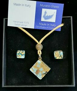 ORIGINAL MURANO GLASS NECKLACE & POST EARRING SET MADE IN ITALY HANDMADE JEWELRY