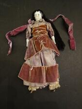 "All Original Parian Type China Doll 10"" with All Original Clothes Silk & Velvet"