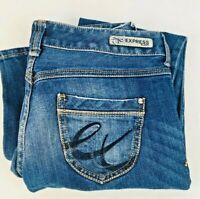 Express Women's Stella Boot Cut Fit Low Rise Blue Denim Jeans, Sz 0s