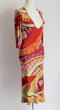 ETRO Deep V 3/4 Sleeve Calf Length Midi Stretch Dress Bright Print Size Uk 14