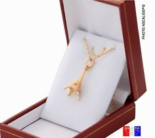 Collier Tour eiffel chaine 45cm et pendentif  en vrai plaqué or neuf avec boite
