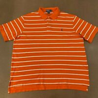 Polo Ralph Lauren Men's Size 3XB Big Orange White Stripe Short Sleeve Polo Shirt