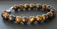 Spiritual Beads Men's Bracelet 8mm Tigers Eye Bronzite 925 Sterling Silver Clasp