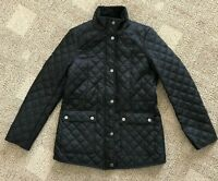 Womens Lucky Brand Diamond Quilted Jacket Light Wt Coat Black Size Small S Zip
