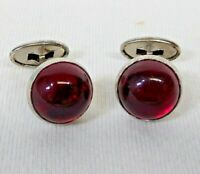 Vintage Cuff Links Round Red Cabochon glass dome Silver tone FLIP BACK