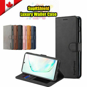 For Samsung Galaxy Note 8 9 10 Plus Genuine SuprShield Wallet Leather Case Cover