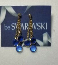 Vintage Swarovski Elements 10K Gold Plated Dangle Earrings Blue Stones