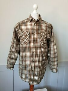 Vintage Padded Flannel Shirt in Brown/Green Check Cotton Worker Grunge *M* TJ09