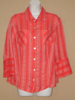 Womens Chicos Vanity Size 1 Medium Long 3/4 Sleeve Striped Fall Blouse Shirt