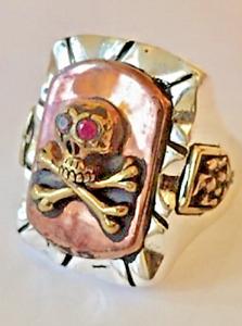 1940s 50s Massive Mexican Biker Novelty Skull Ring Tattoo Rockabilly Vintage
