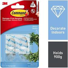 3M Command Clear Hooks With Strips, Damage Free Hanging, clear, 2 hooks - Medium