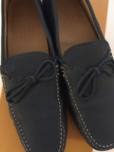 TOD'S TIE DRIVER MENS NAVY LEATHER SHOES - SIZE 9 EU 43 - WITH BOX