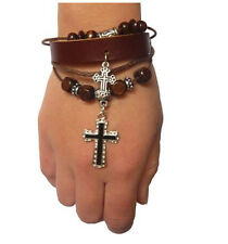 Leather Men or Women Wrist Bracelet with Beads and Charms. Adjustable Ropes