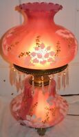 """VINTAGE Glass """"Gone With The Wind"""" Hurricane Electric Lamp Hand Painted"""