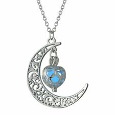 Charm Steampunk Crescent Moon Shape Glow In The Dark Pendent Necklace Jewelry