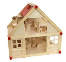 Freda Dollhouse+Furniture set 28 Pieces+Family Clothes of change Complete Wood