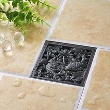 Fish Art Carve Oil Rubbed Bronze Black Finish Bathroom Shower Floor Drain Square
