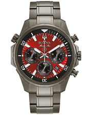 Bulova 98B350 Marine Star Red Dial Chronograph Gray IP Watch 2020 Box & Papers