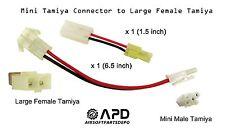 2 x CSI Male Mini Tamiya Connector to Large Female Airsoft AEG Battery Adapter