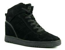 Zakti Urban Outing Womens UK 5 EU 38 Black Suede Hidden Wedge Trainers Sneakers