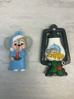 Vintage Set of 2 Hand-Painted Sleepy Mice, Nightgown Lantern Christmas Ornaments