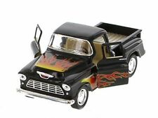 Kinsmart 1955 Chevrolet Stepside Pickup w/ Flames 1:32 Diecast Toy Truck Black