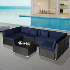 Outsunny Modern Low Back Rattan Chair Sofa Outdoor Sectional Patio Furniture 7
