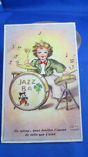 cpa illustrateur fantaisie musicien batteur jazz