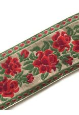 Floral Rose Embroidered Fabric Ribbon Trim Red Green Holiday By The Yard 3""