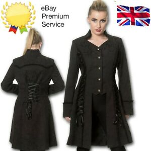 Black Gothic Steampunk Coat Power Becomes Her Long Line Jacket By BANNED Apparel