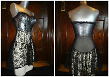 NWOT sexy vintage Frederick's of Hollywood black lace strapless teddy Small (XS)