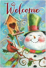 New Evergreen Double Sided Garden Flag Birdhouse Snowman Welcome 12.5 X 18