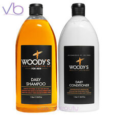 WOODY'S Daily Shampoo And Conditioner Set For Men Quality Grooming Paraben Free