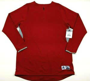 Russell Mens Red Quarter Zip Long Sleeve Baseball Warm Up Pullover Size Small