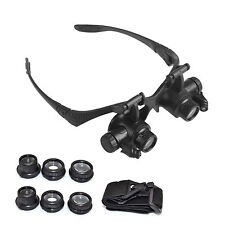Magnifying Eye Magnifier Glasses Loupe 8 Lens Jeweler Watch Repair25x LED Light