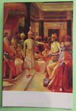 Vintage Raja Ravi Varma Sri krishna as Envoy story telling picture postcard 1970