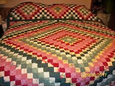 Trip Around World Quilt- Maroon/Green - Full Size - measures 80X95 inches